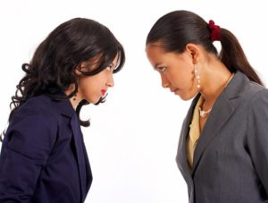 business women disagreeing with each other